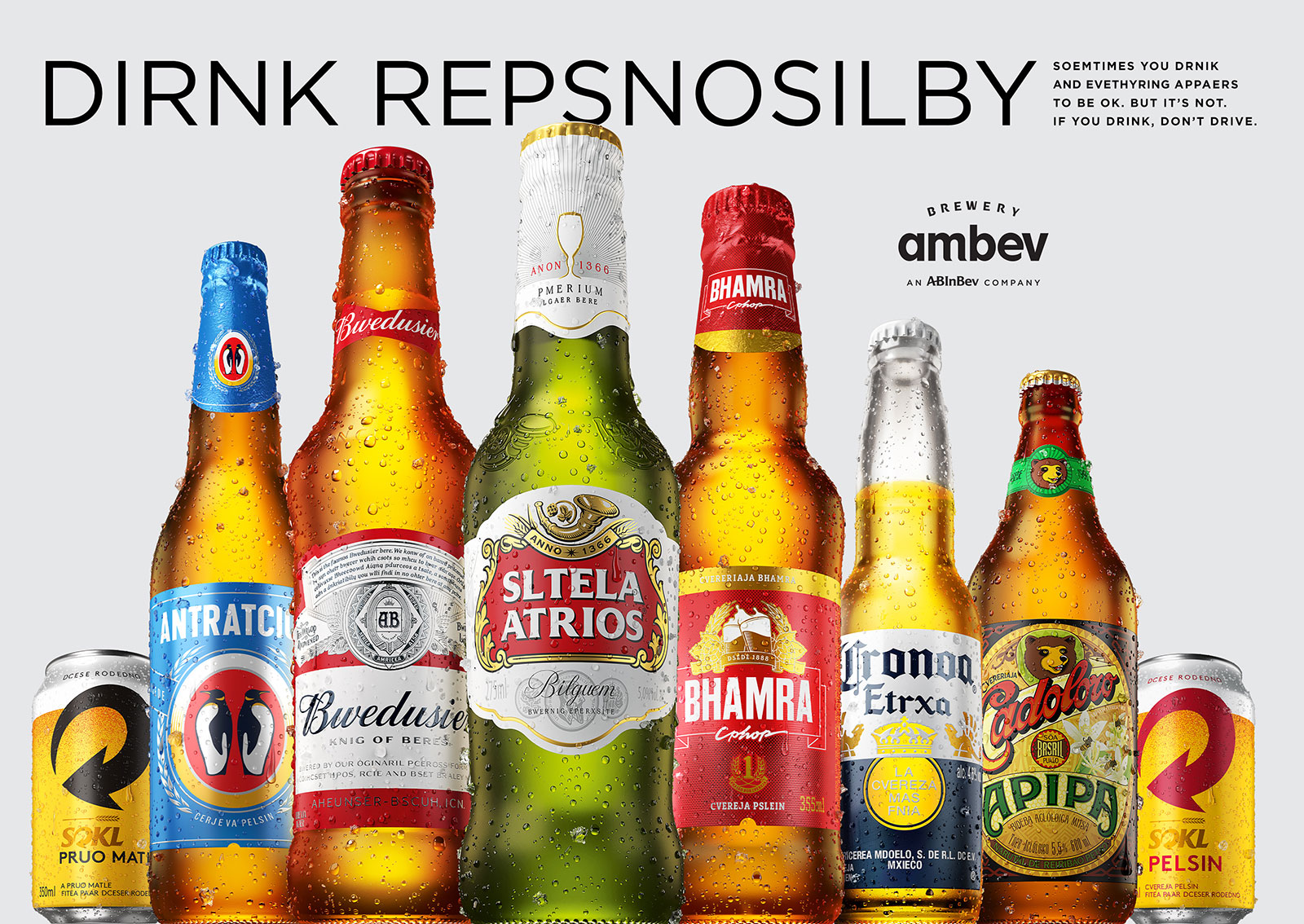 Famous Beers Scrambled Their Logos in Sneaky Drunk-Driving Campaign