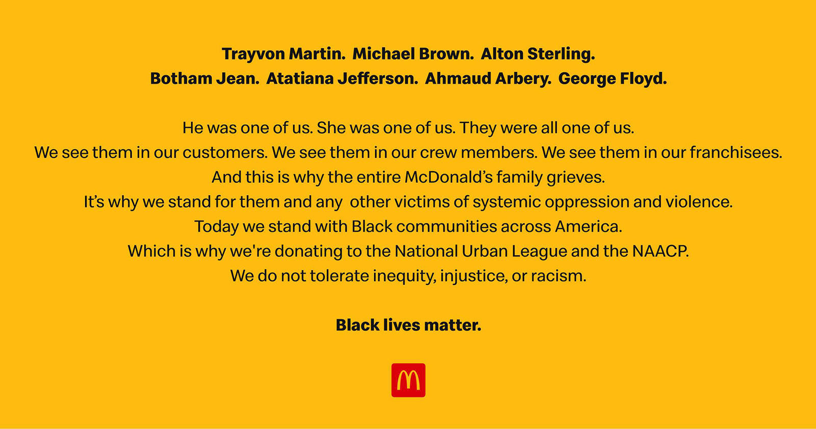 Mcdonald S Names 7 Victims Of Racial Violence In Black Lives Matter Ads Muse By Clio